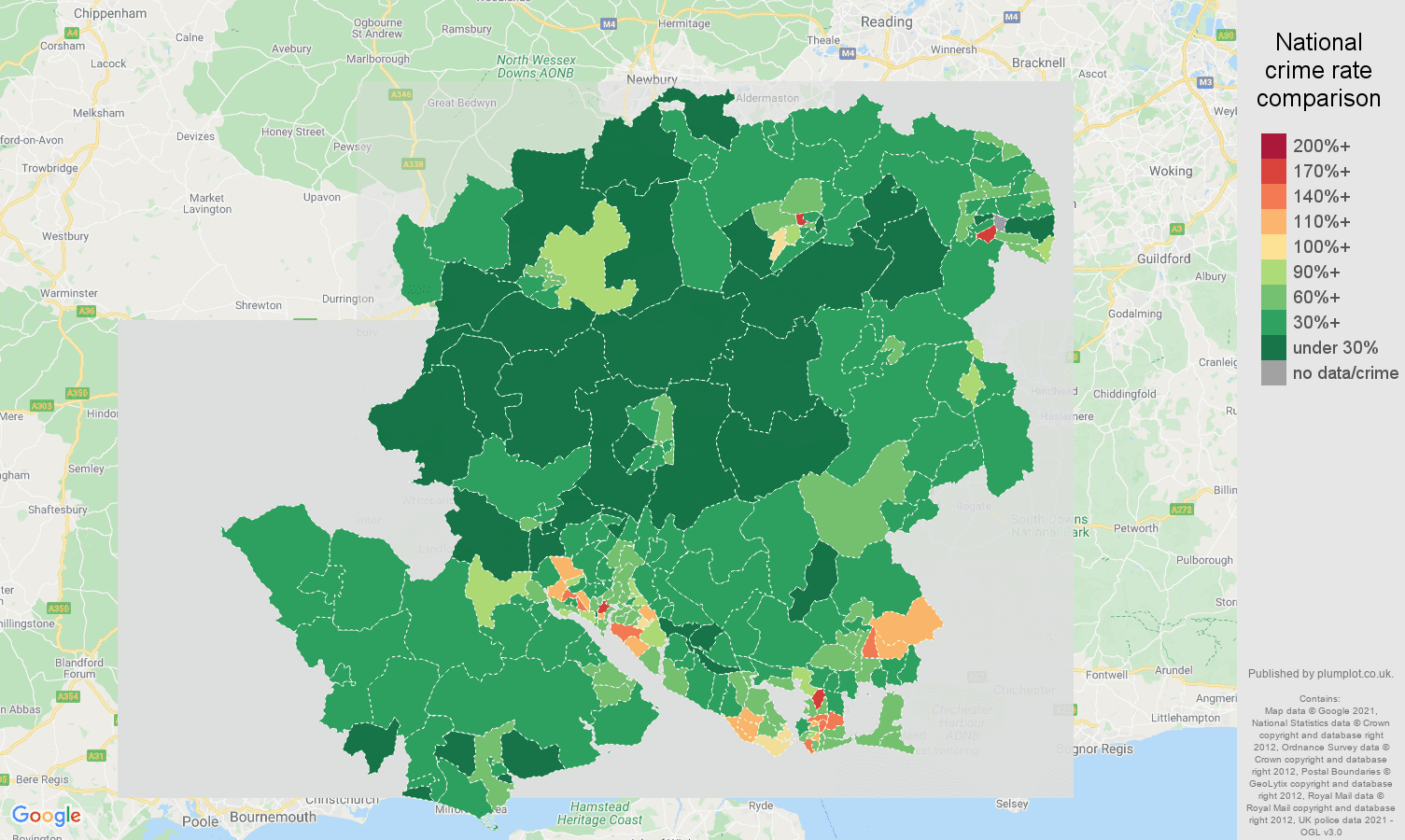 Hampshire antisocial behaviour crime rate comparison map