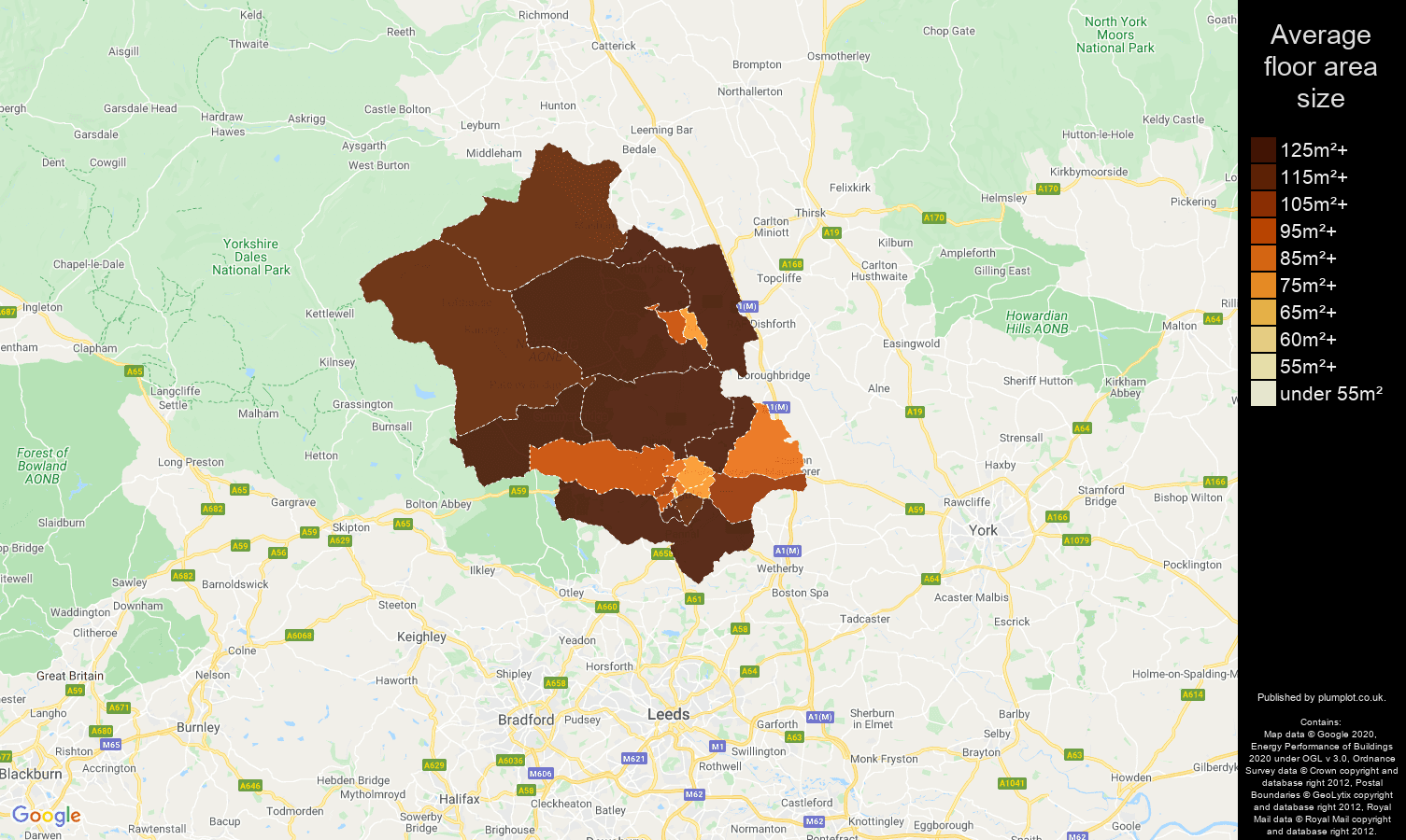 Harrogate map of average floor area size of properties