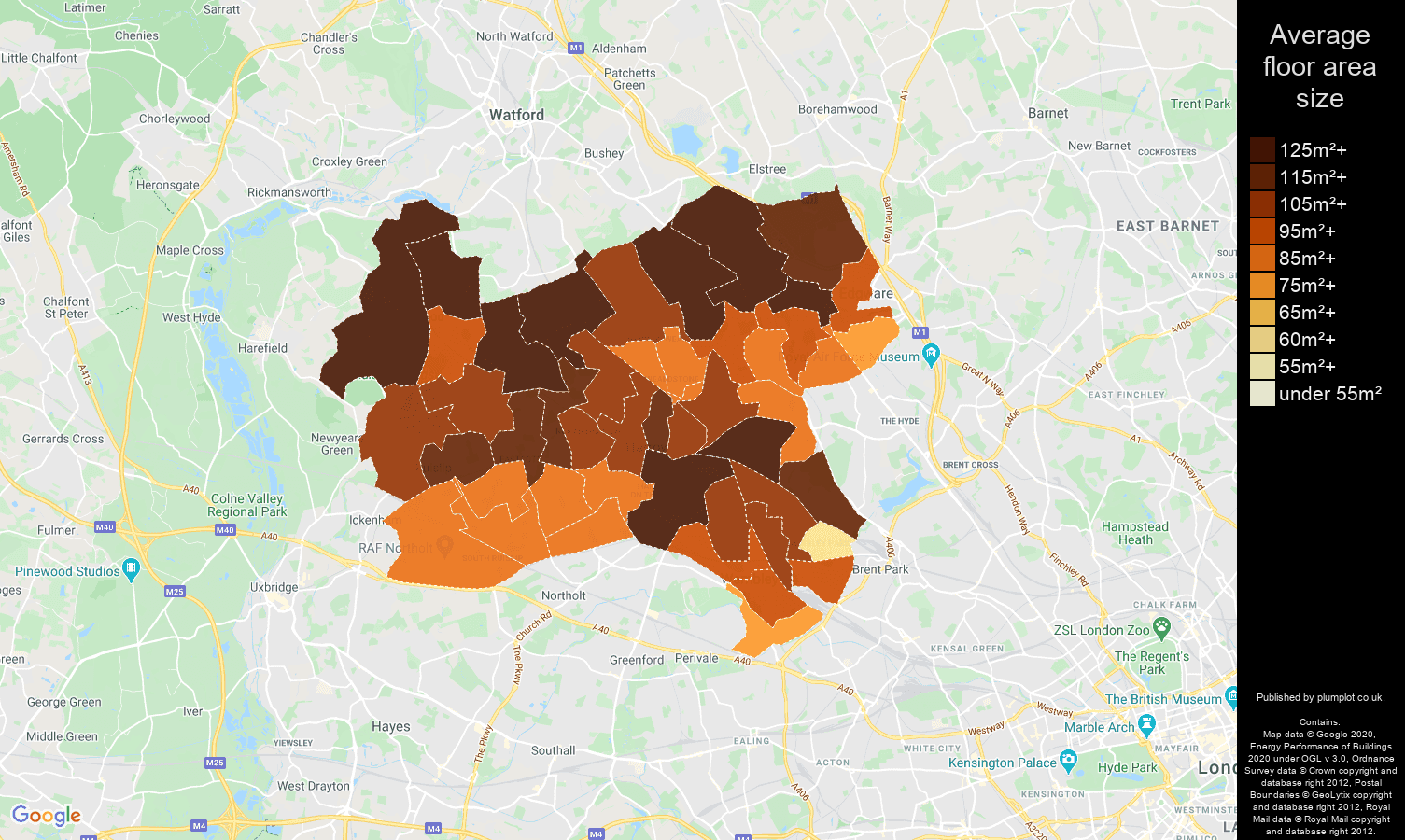 Harrow map of average floor area size of houses