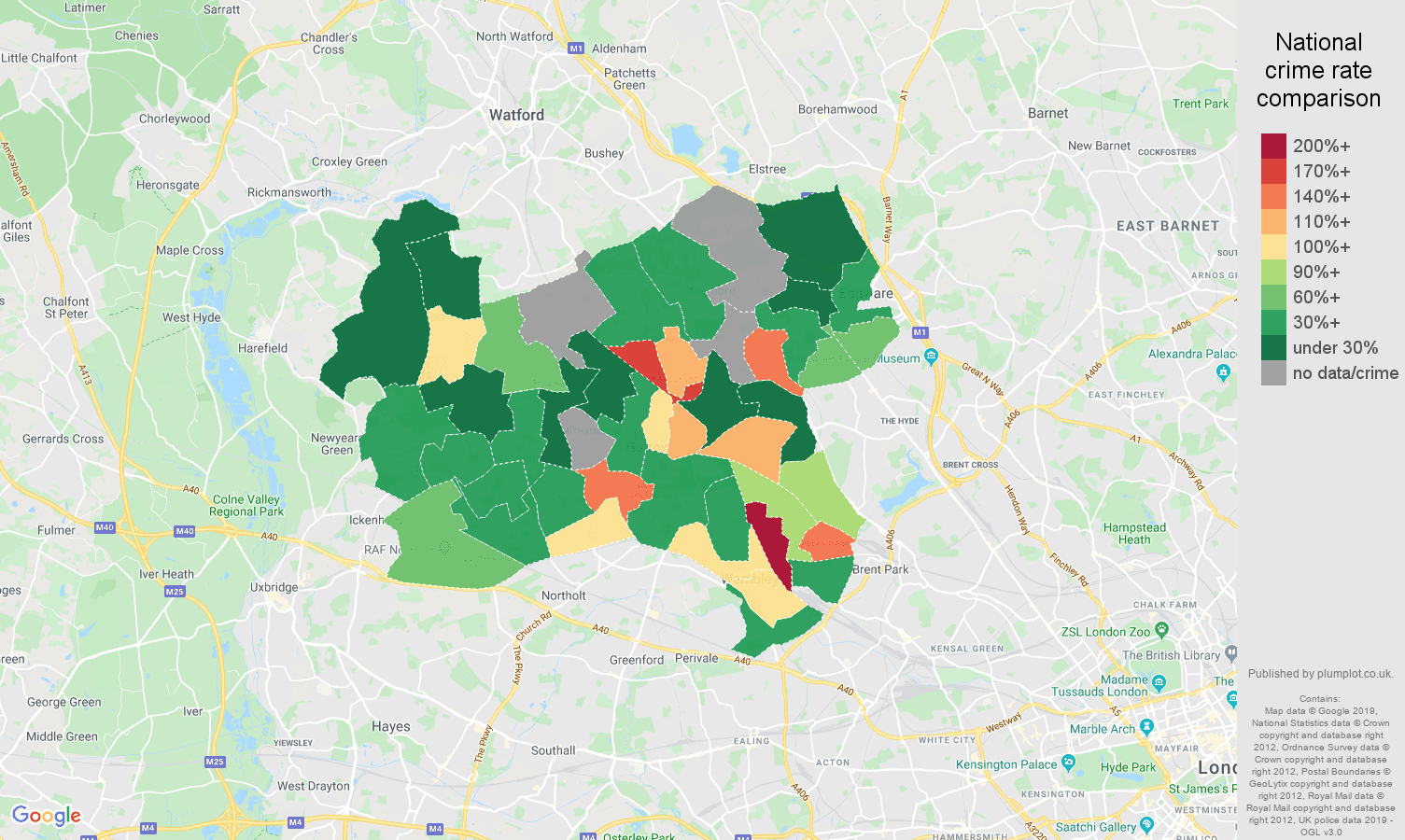 Harrow possession of weapons crime rate comparison map