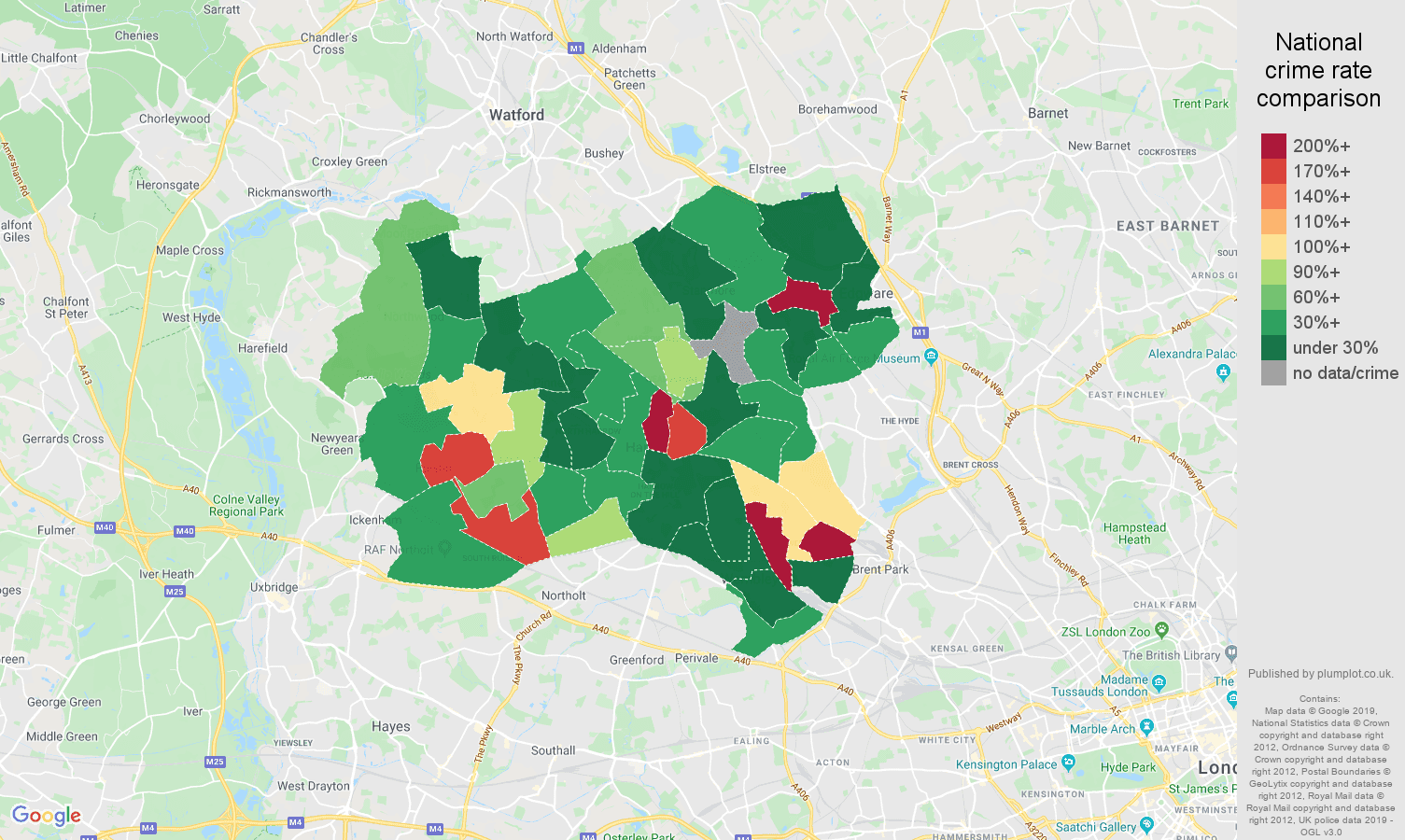 Harrow shoplifting crime rate comparison map