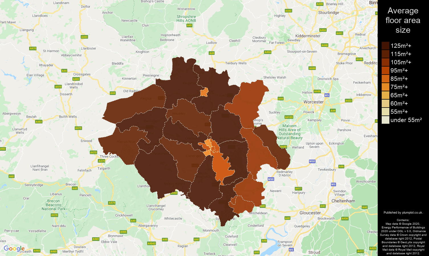 Hereford map of average floor area size of houses