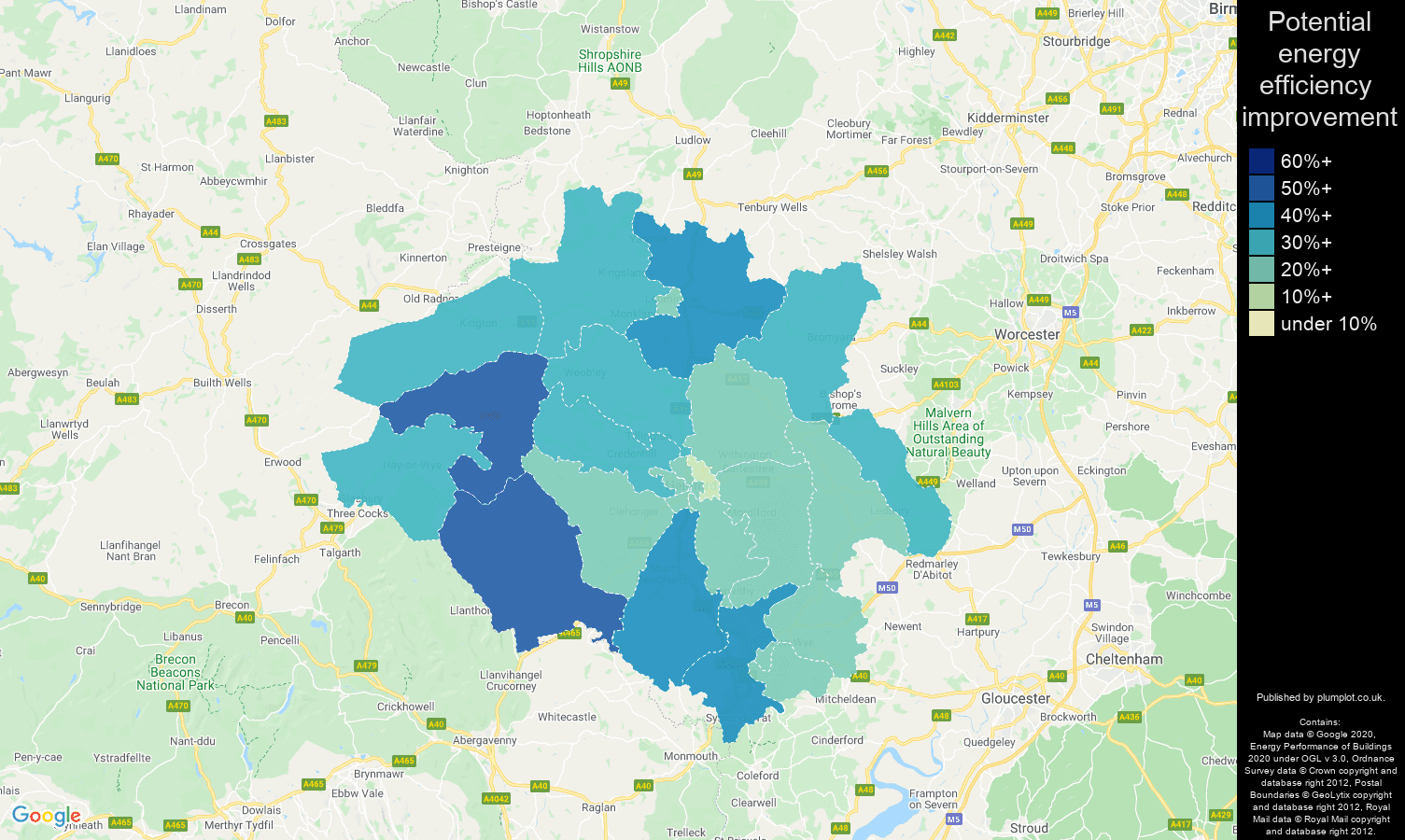 Hereford map of potential energy efficiency improvement of houses