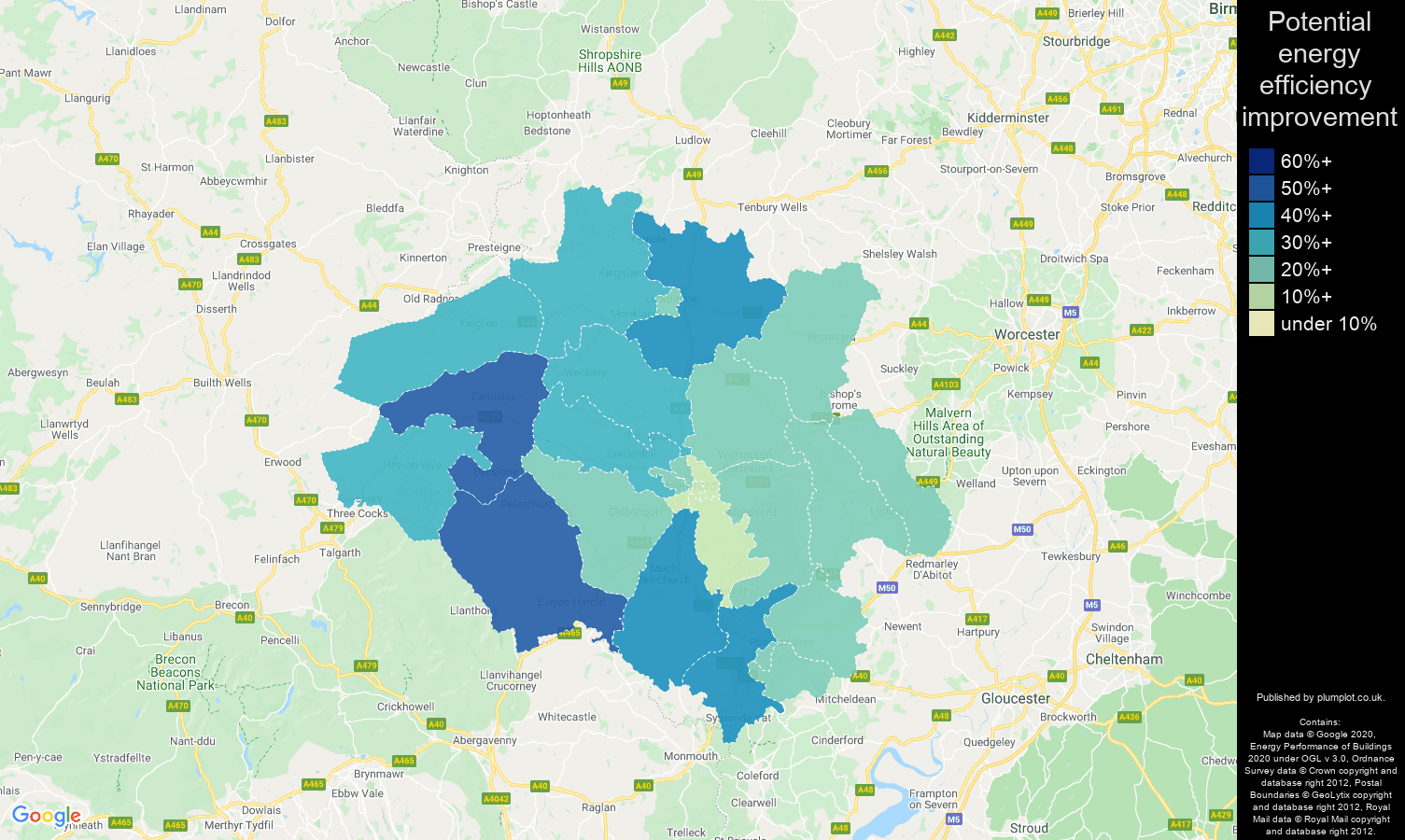 Hereford map of potential energy efficiency improvement of properties