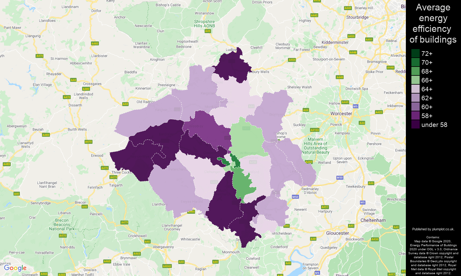 Herefordshire map of energy efficiency of flats