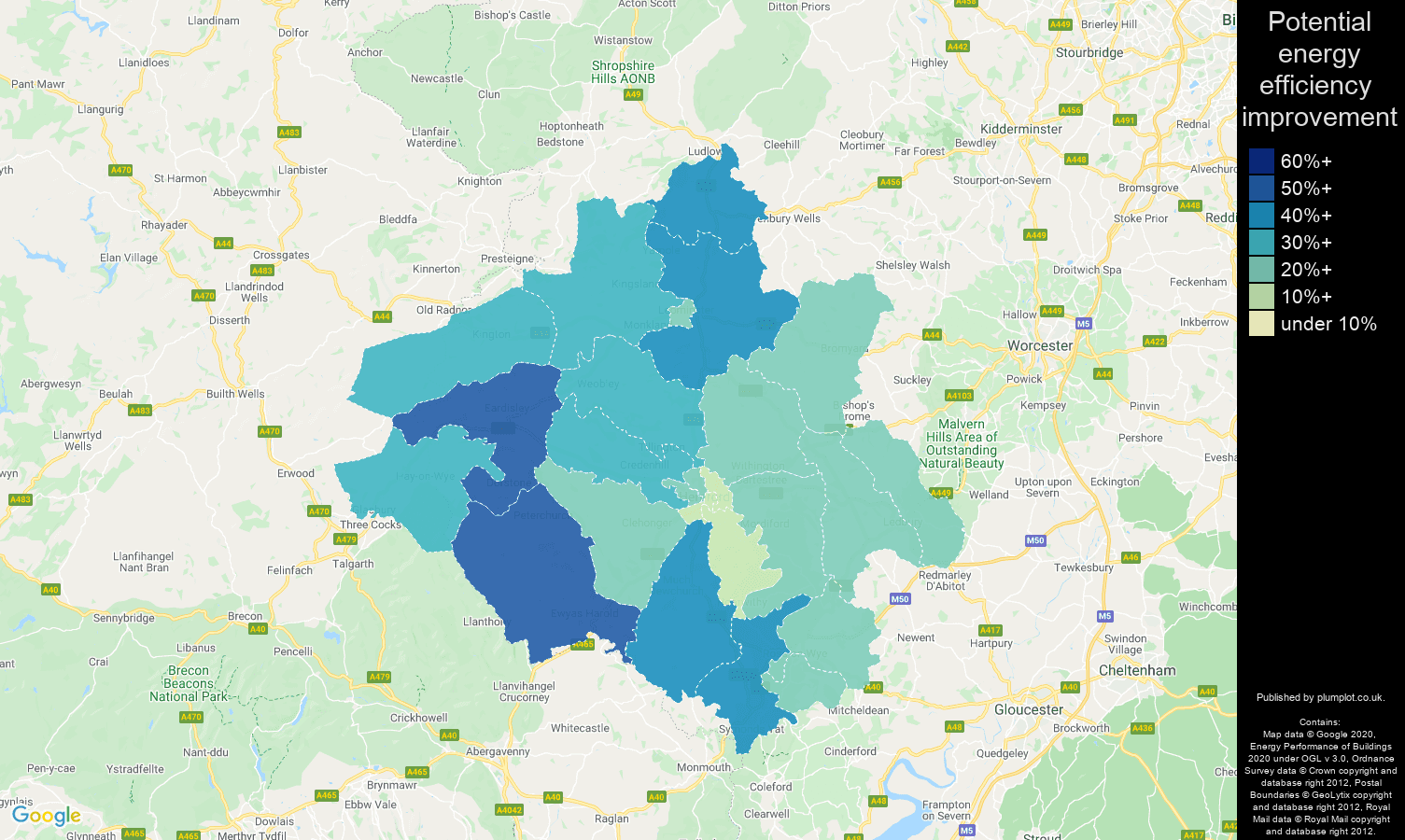 Herefordshire map of potential energy efficiency improvement of properties