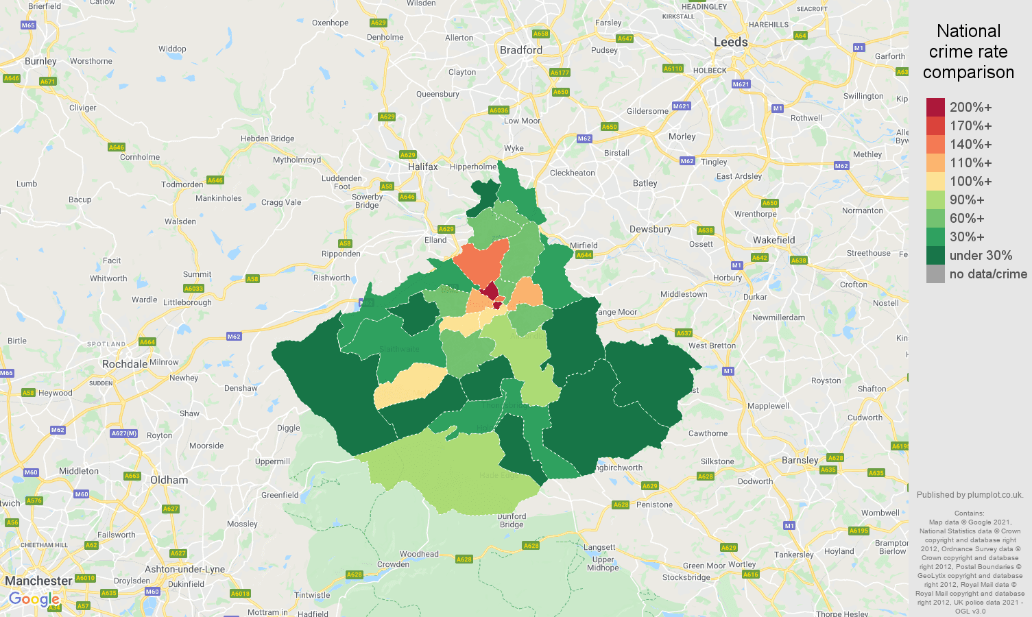 Huddersfield drugs crime rate comparison map