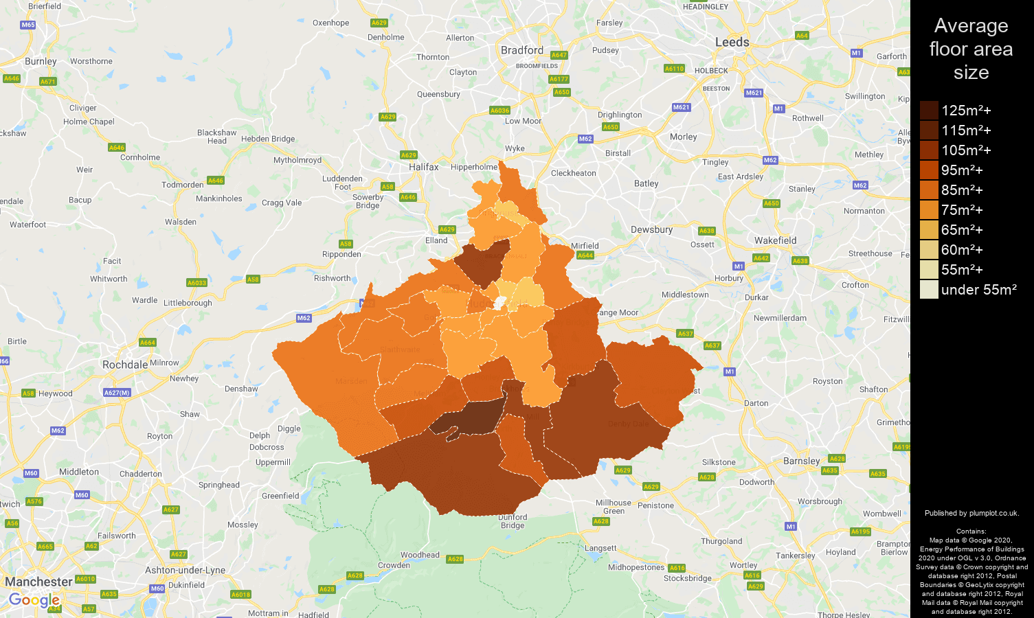 Huddersfield map of average floor area size of properties