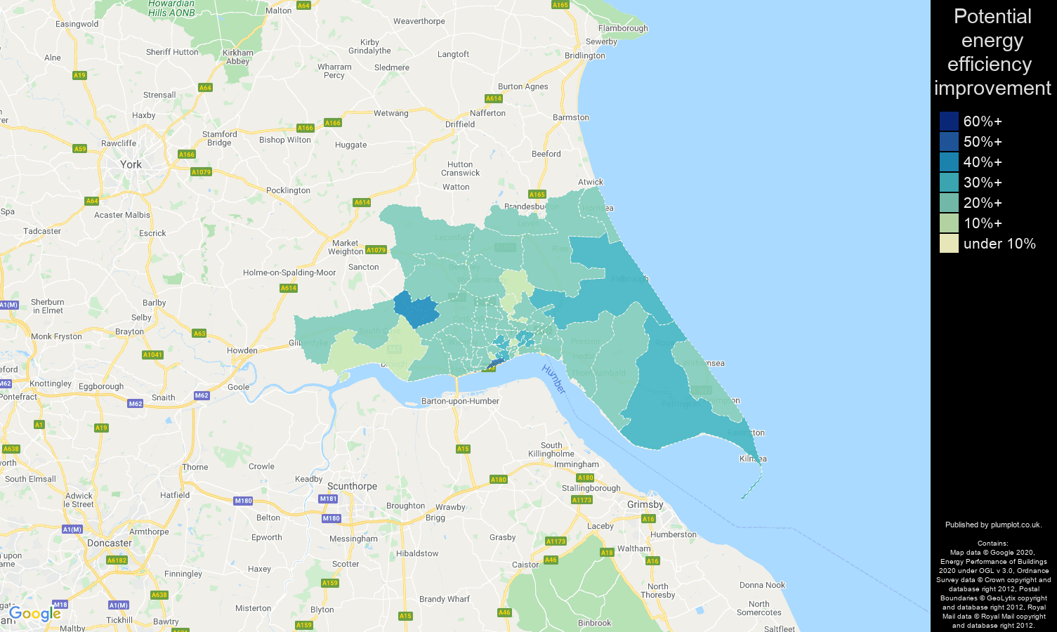 Hull map of potential energy efficiency improvement of houses