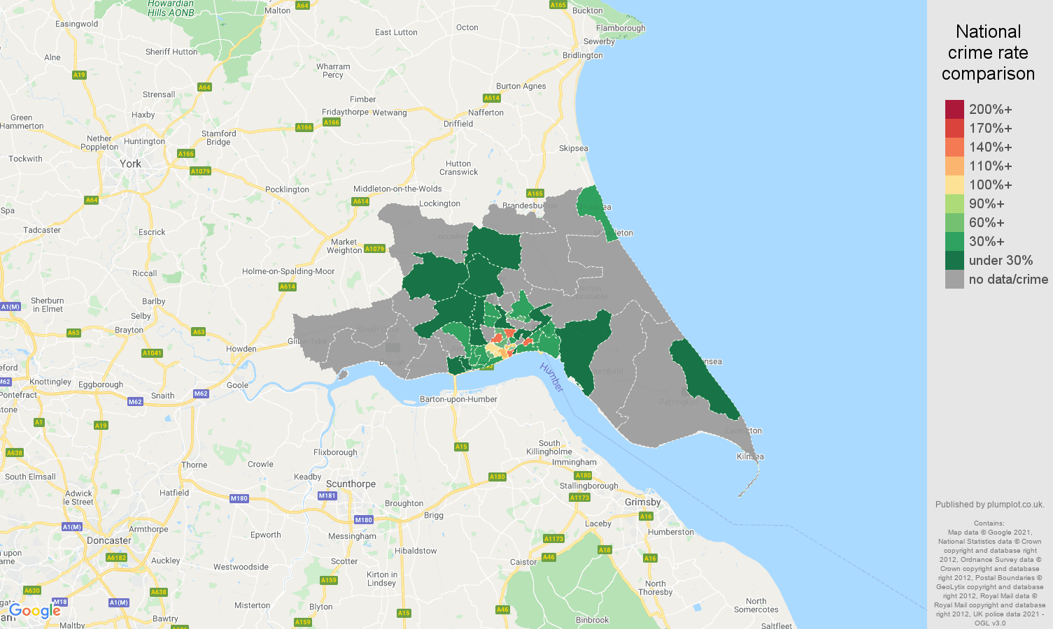 Hull theft from the person crime rate comparison map