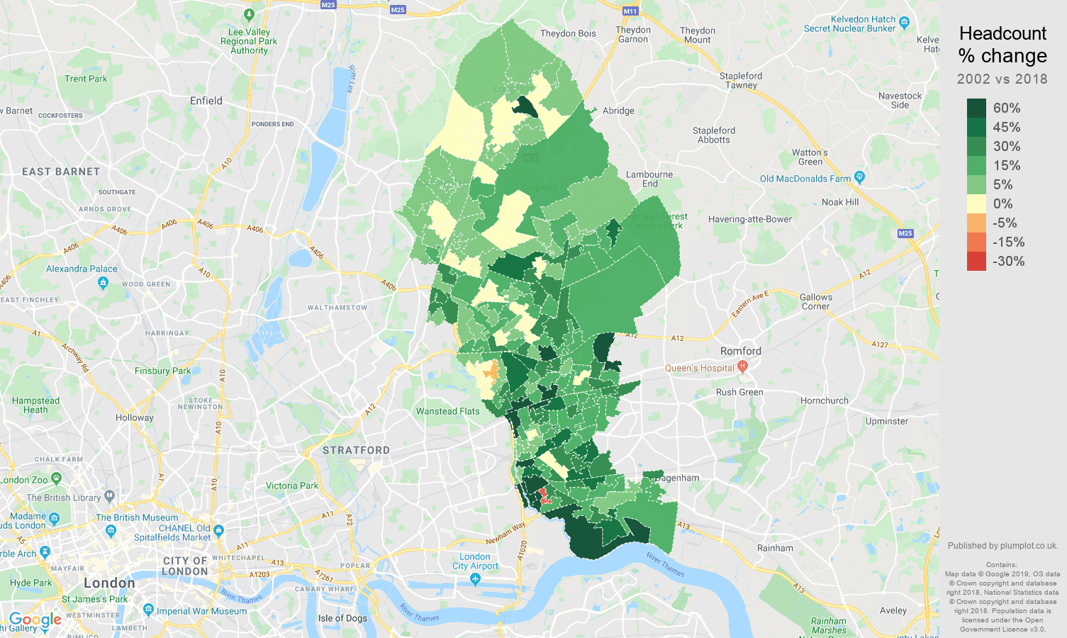 Ilford headcount change map