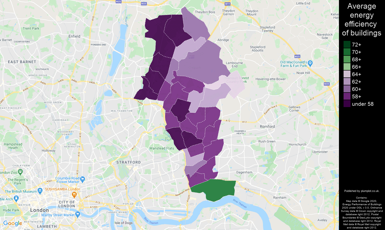 Ilford map of energy efficiency of houses