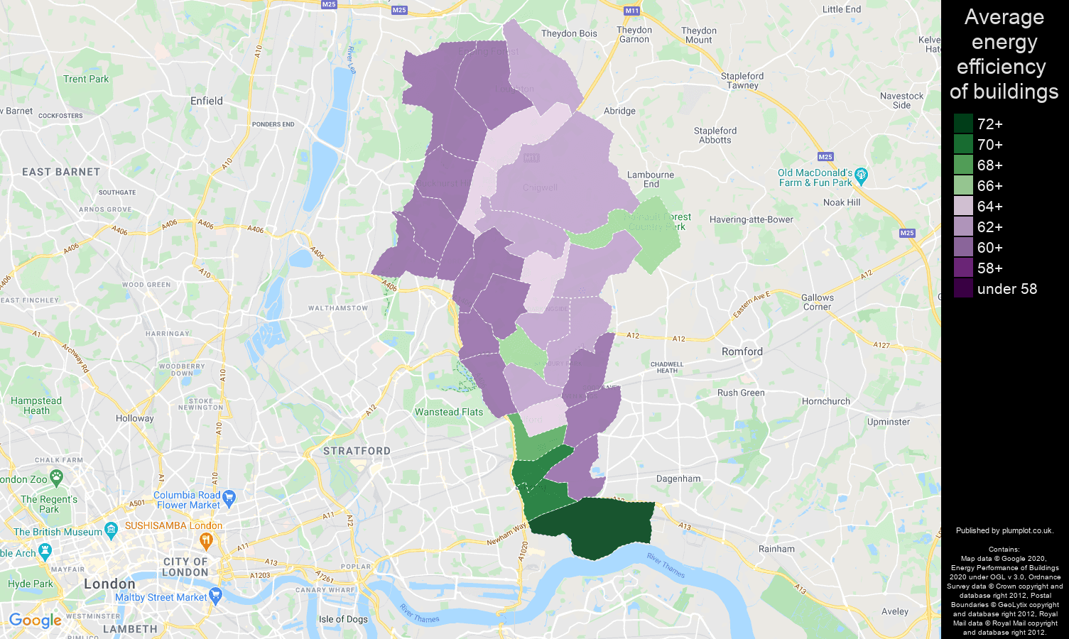 Ilford map of energy efficiency of properties