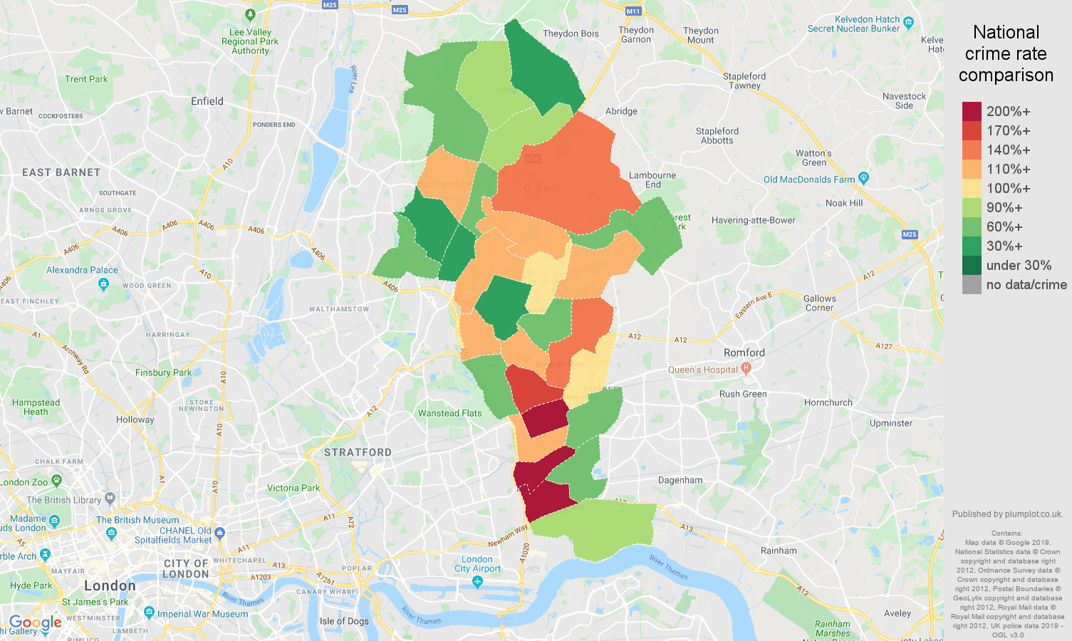 Ilford other theft crime rate comparison map