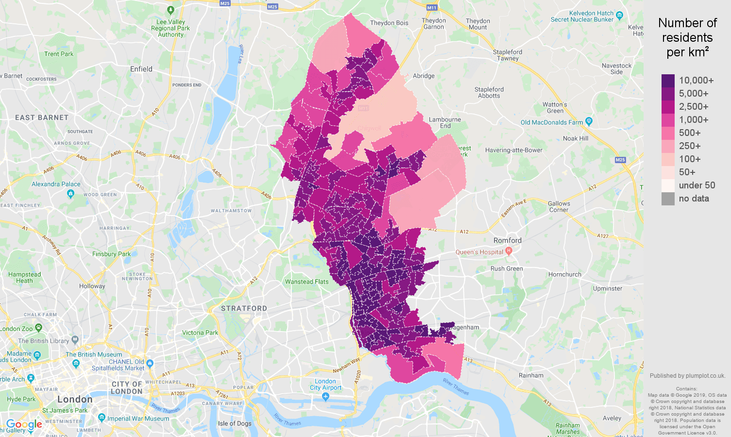 Ilford population density map