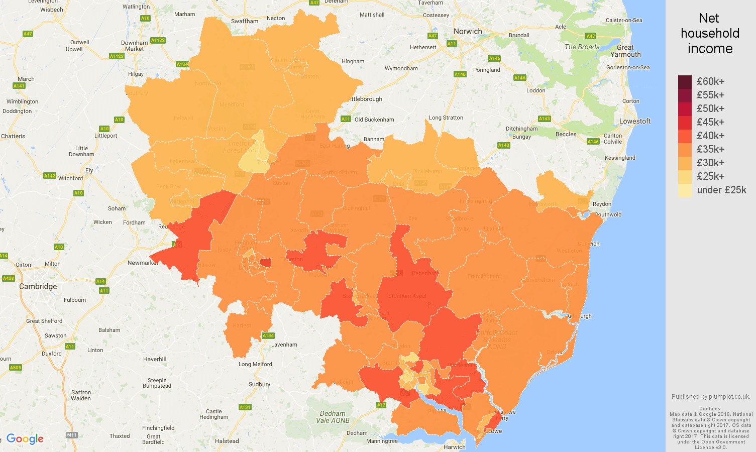 Ipswich net household income map