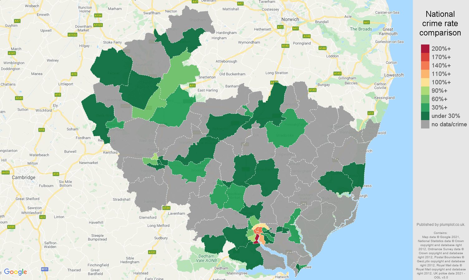Ipswich robbery crime rate comparison map