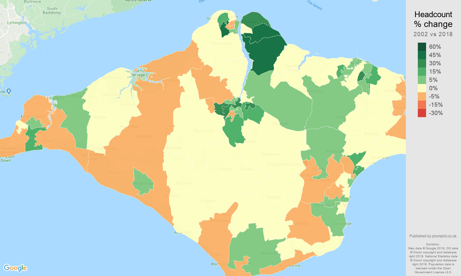 Isle of Wight headcount change map