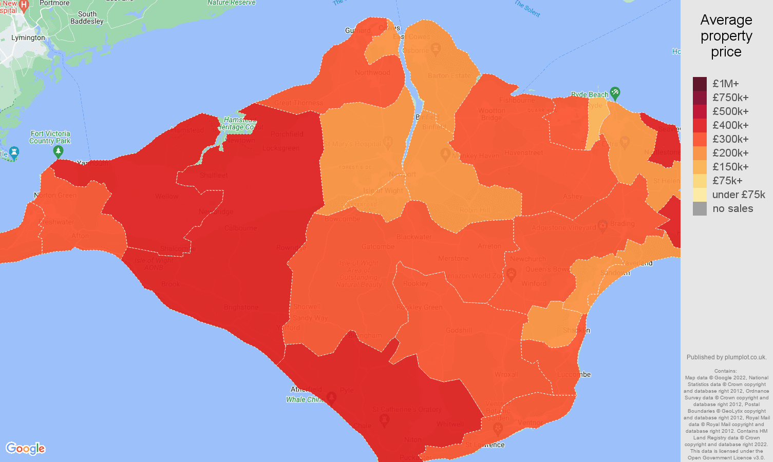 Isle of Wight house prices map