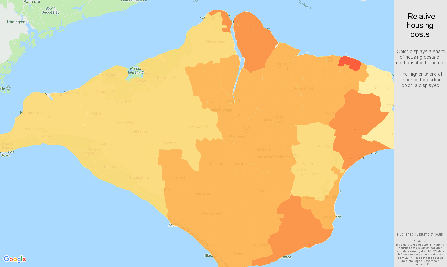 Isle of Wight relative housing costs map