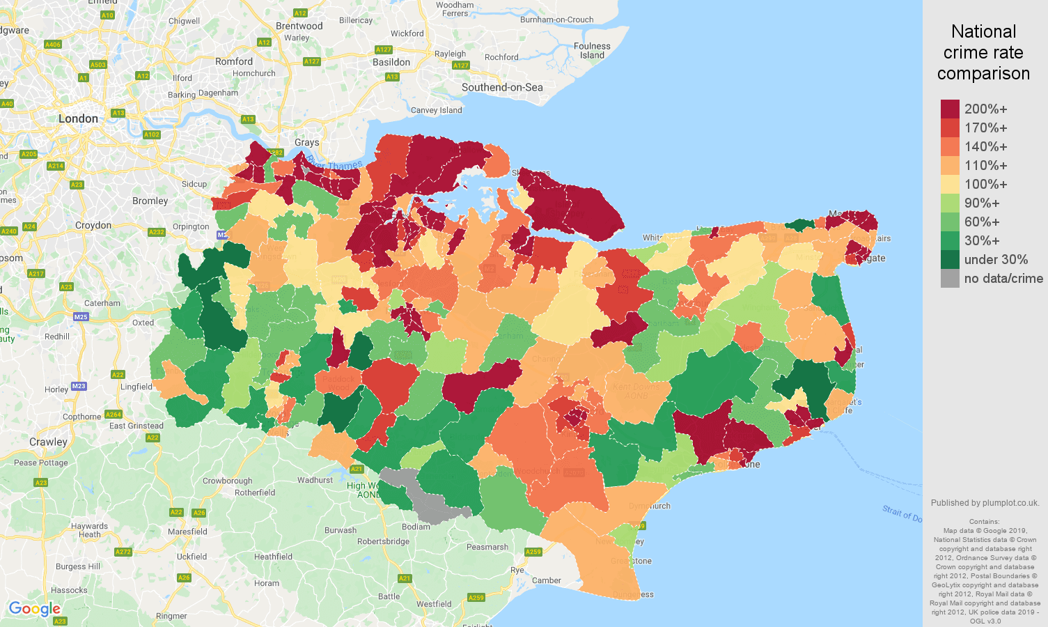 Kent other crime rate comparison map