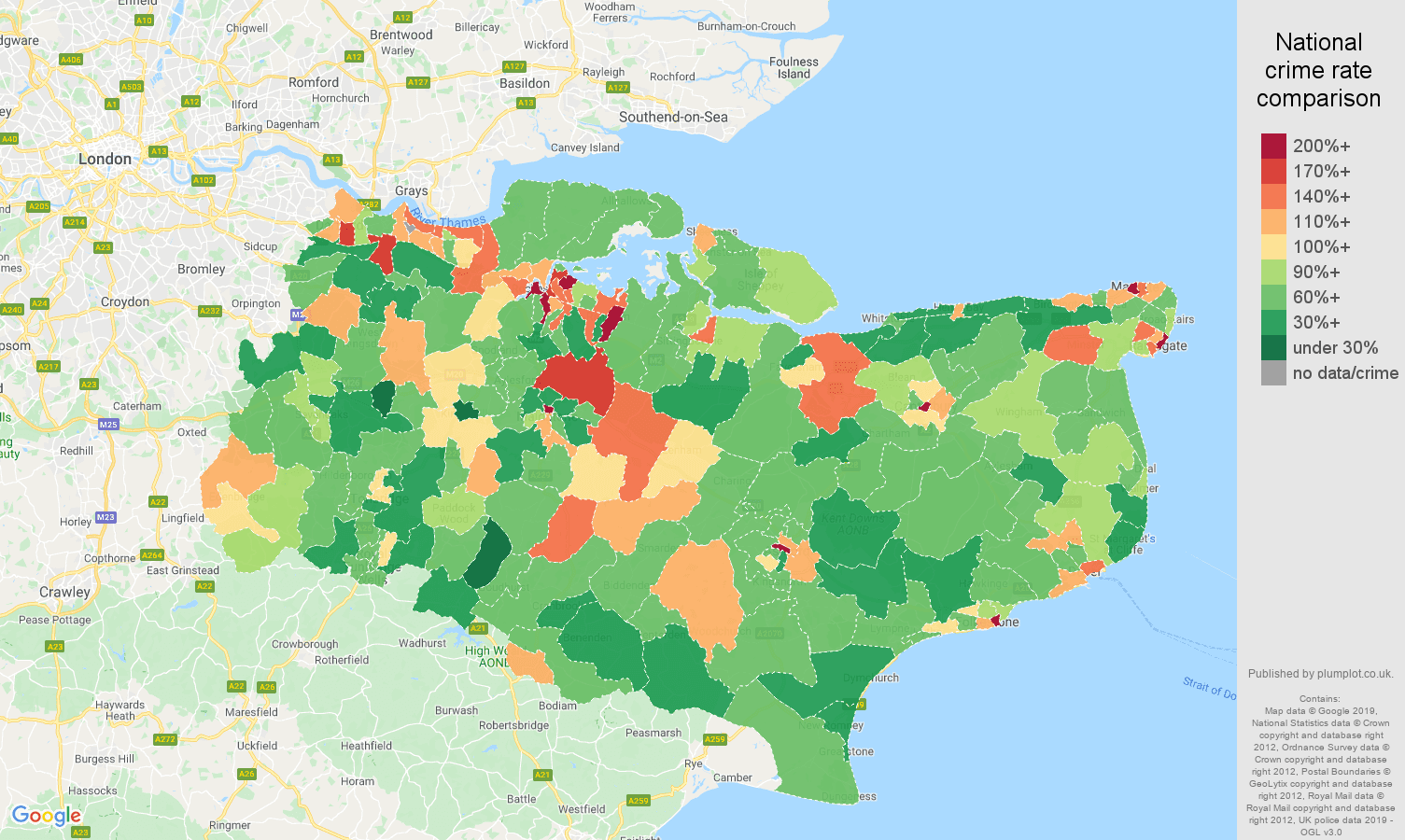 Kent other theft crime rate comparison map