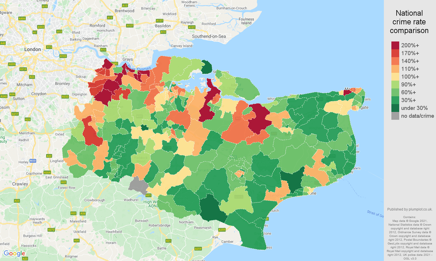 Kent vehicle crime rate comparison map