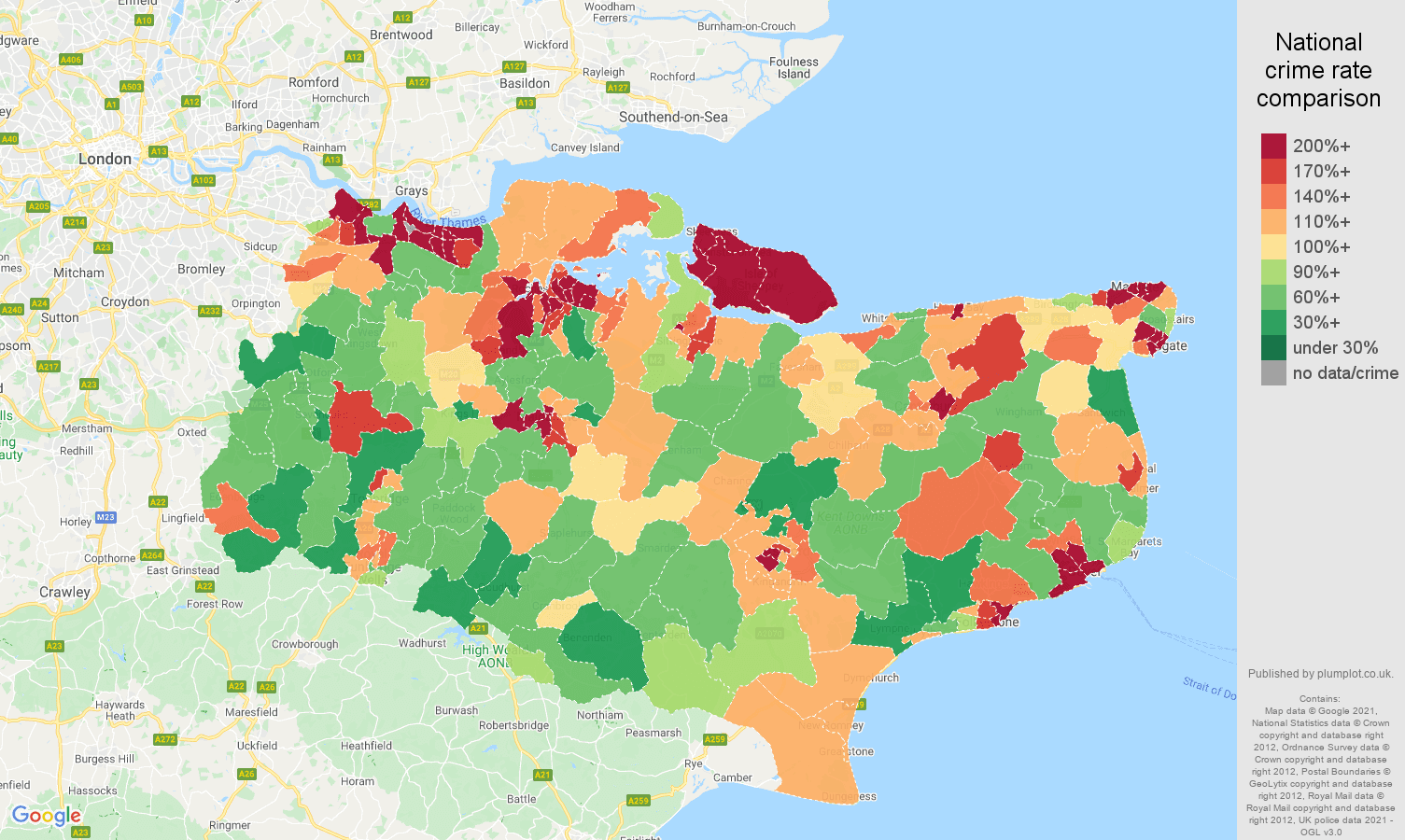 Kent violent crime rate comparison map