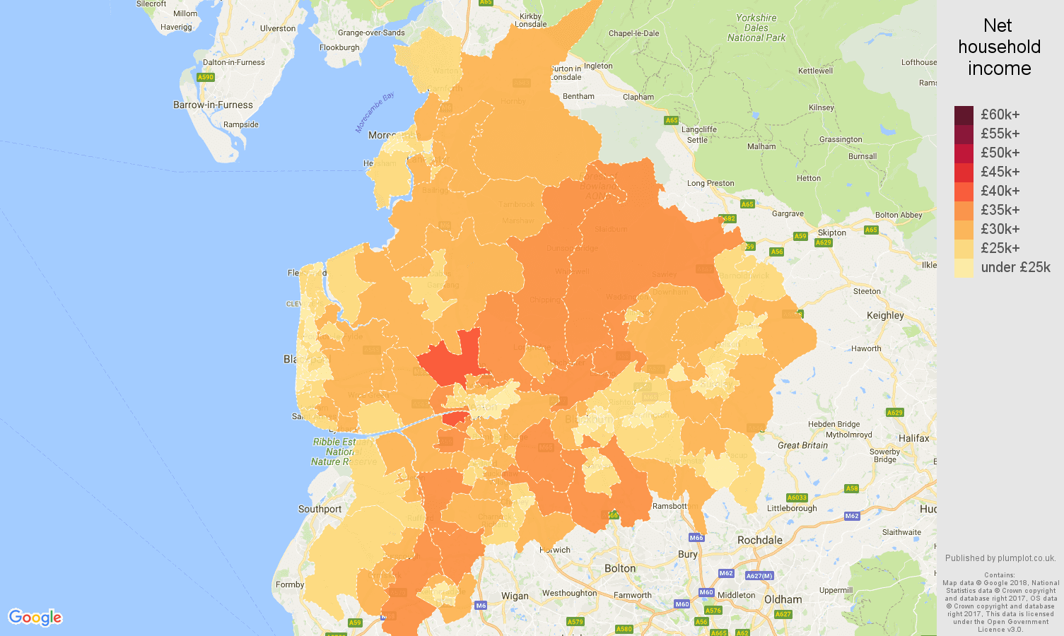 Lancashire net household income map