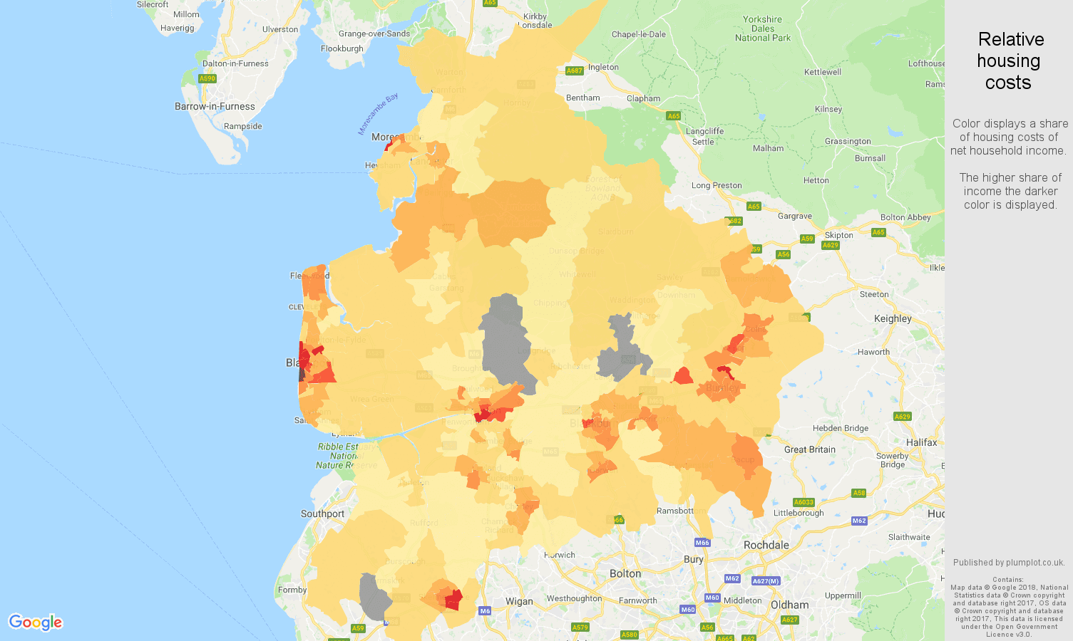 Lancashire relative housing costs map