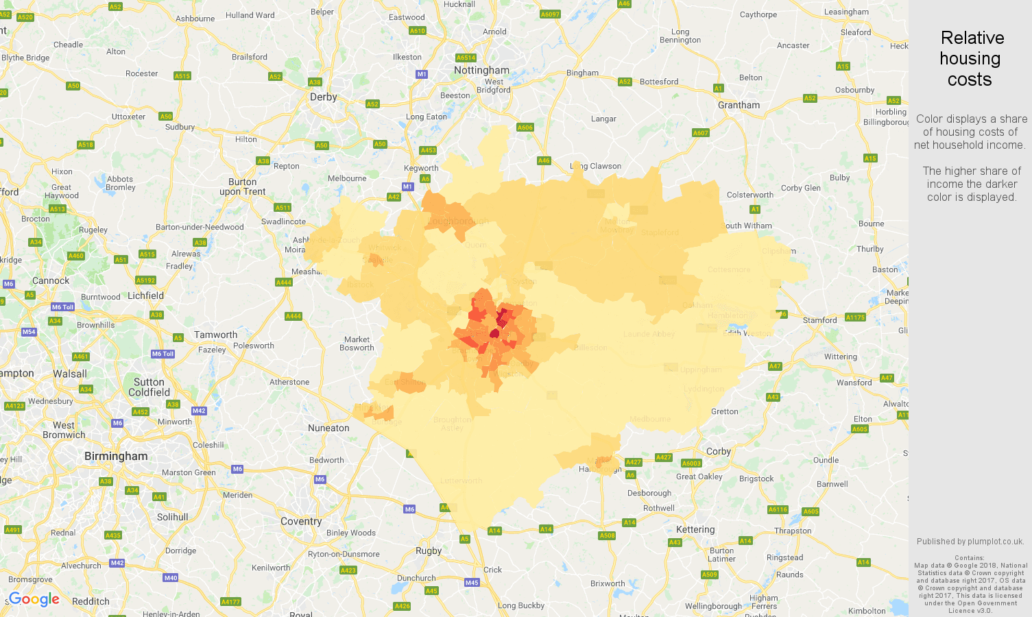 Leicester relative housing costs map