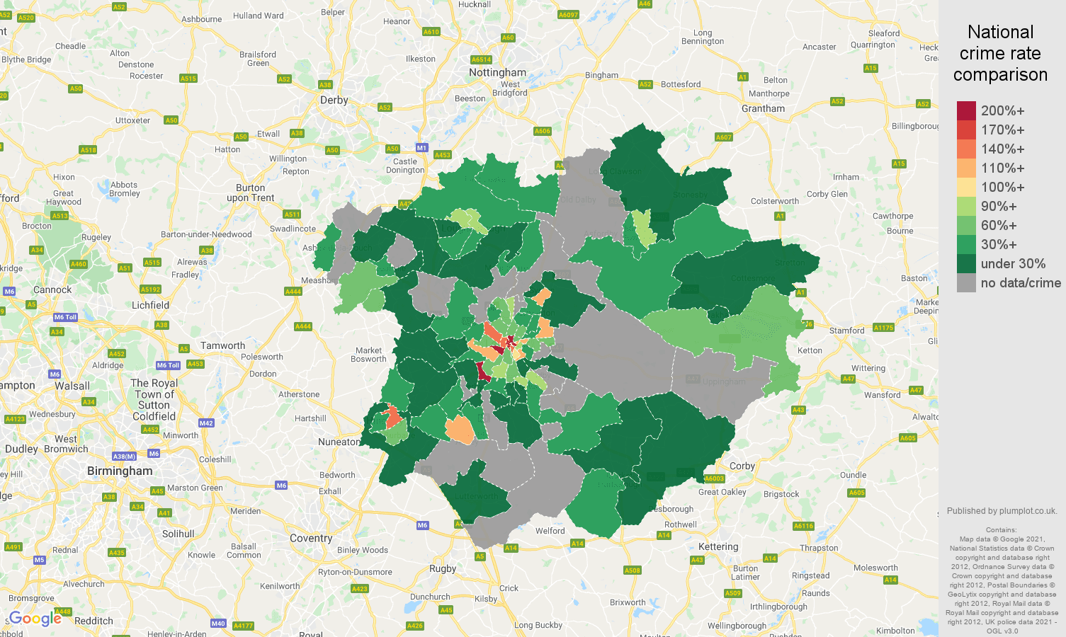 Leicester theft from the person crime rate comparison map