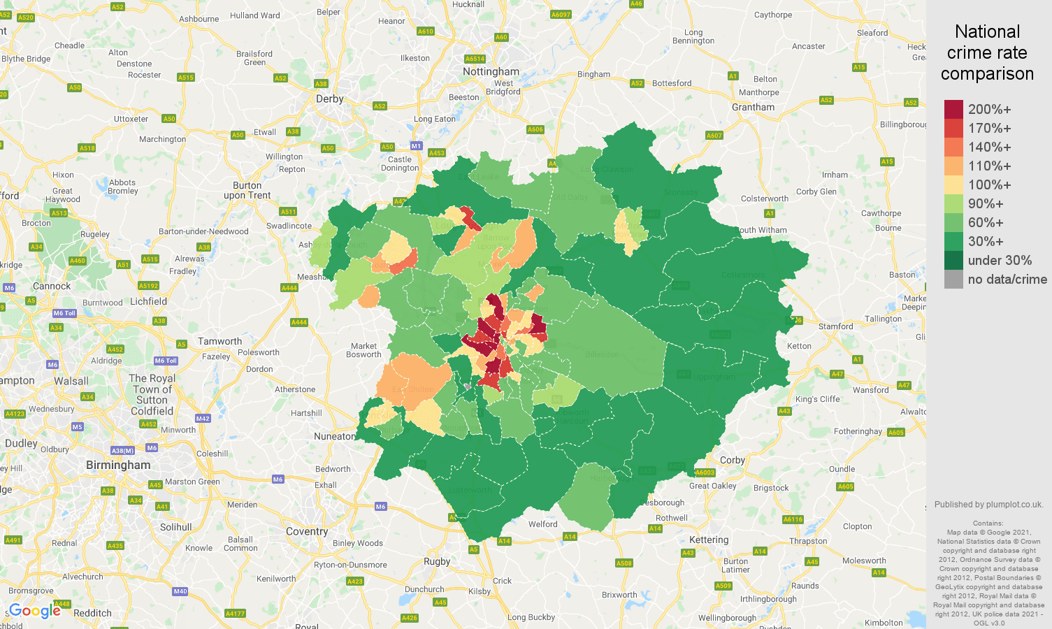 Leicester violent crime rate comparison map