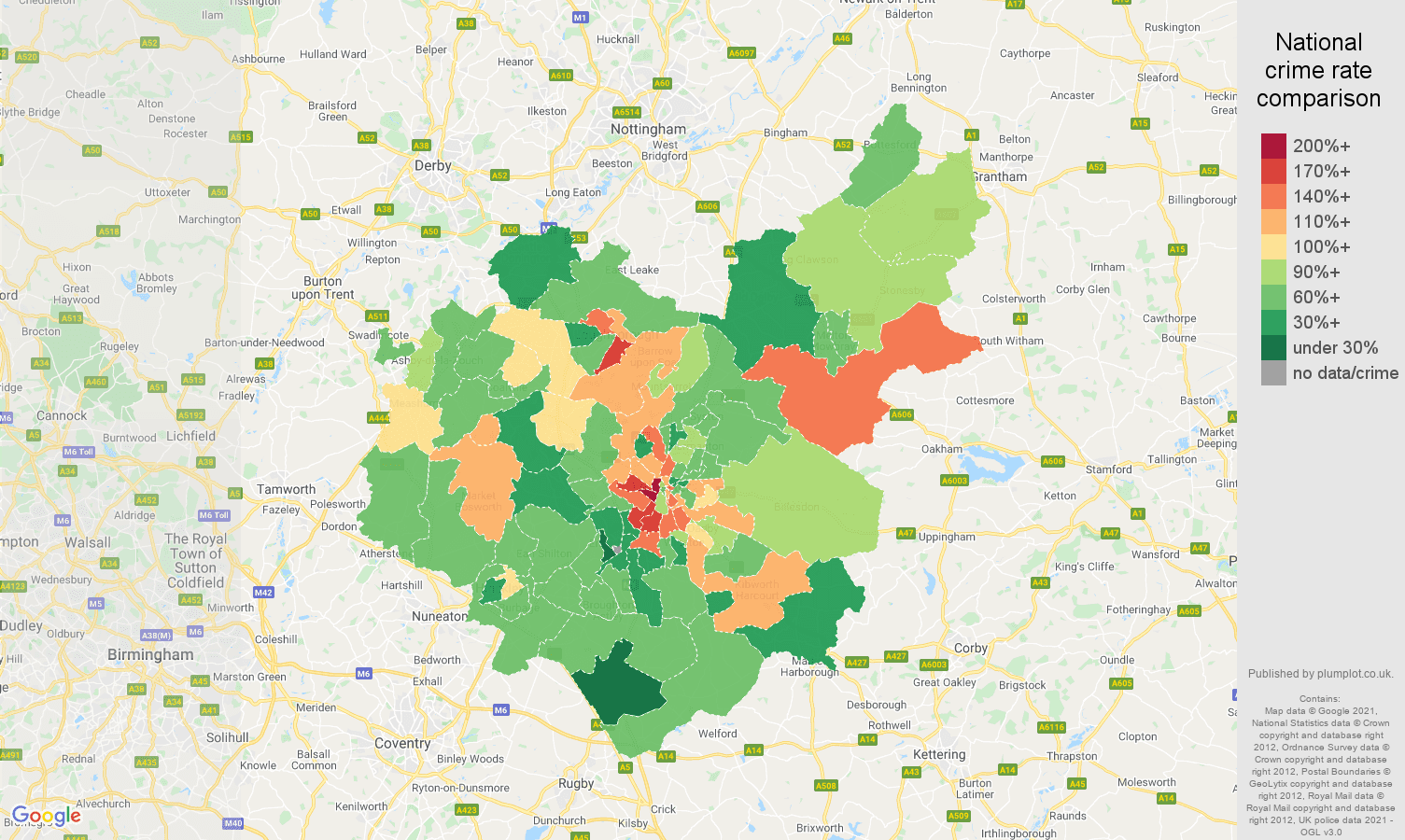 Leicestershire burglary crime rate comparison map