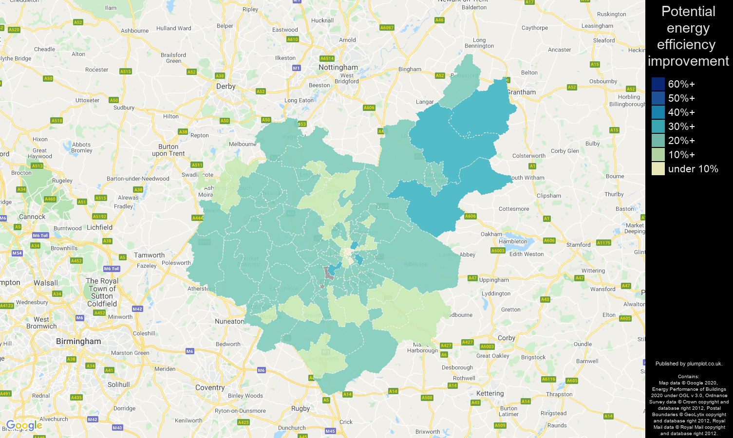 Leicestershire map of potential energy efficiency improvement of properties