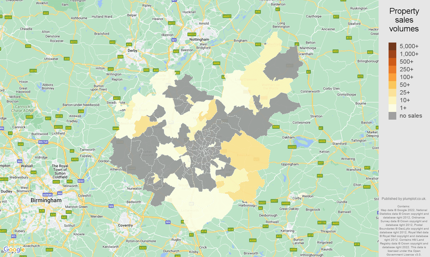 Leicestershire map of sales of new properties