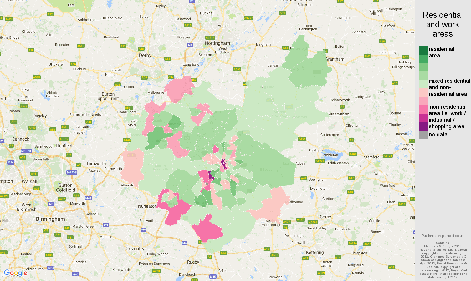 Leicestershire residential areas map