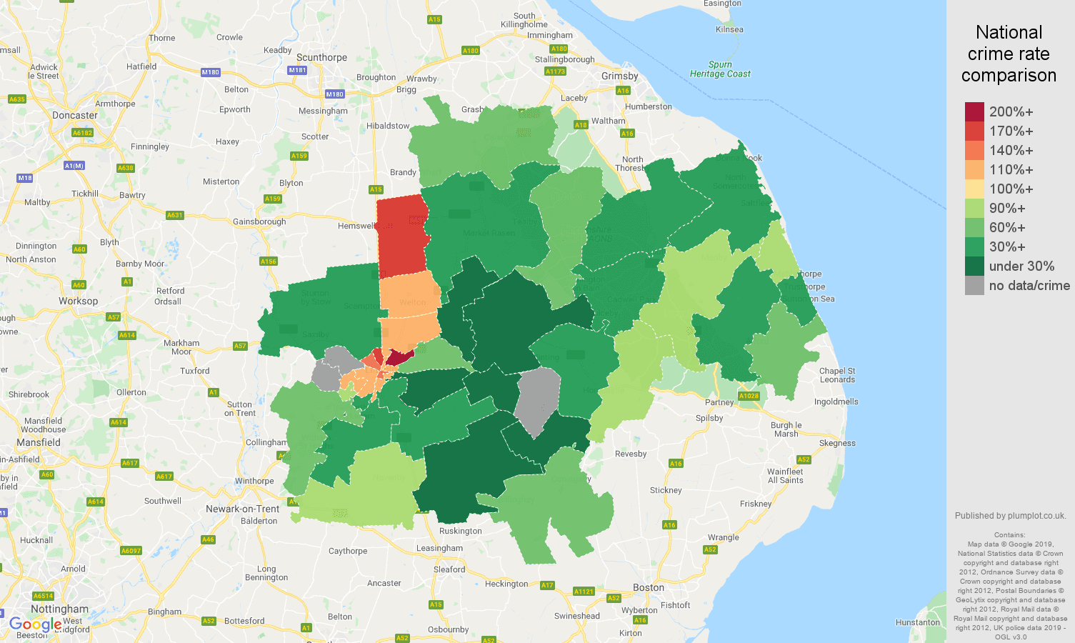 Lincoln other crime rate comparison map