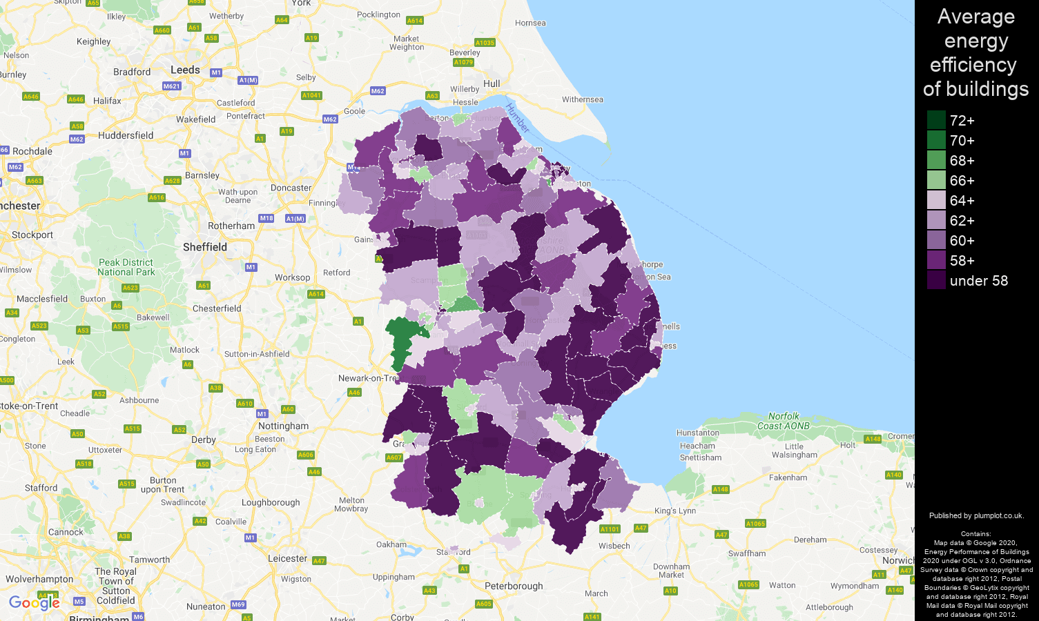 Lincolnshire map of energy efficiency of houses