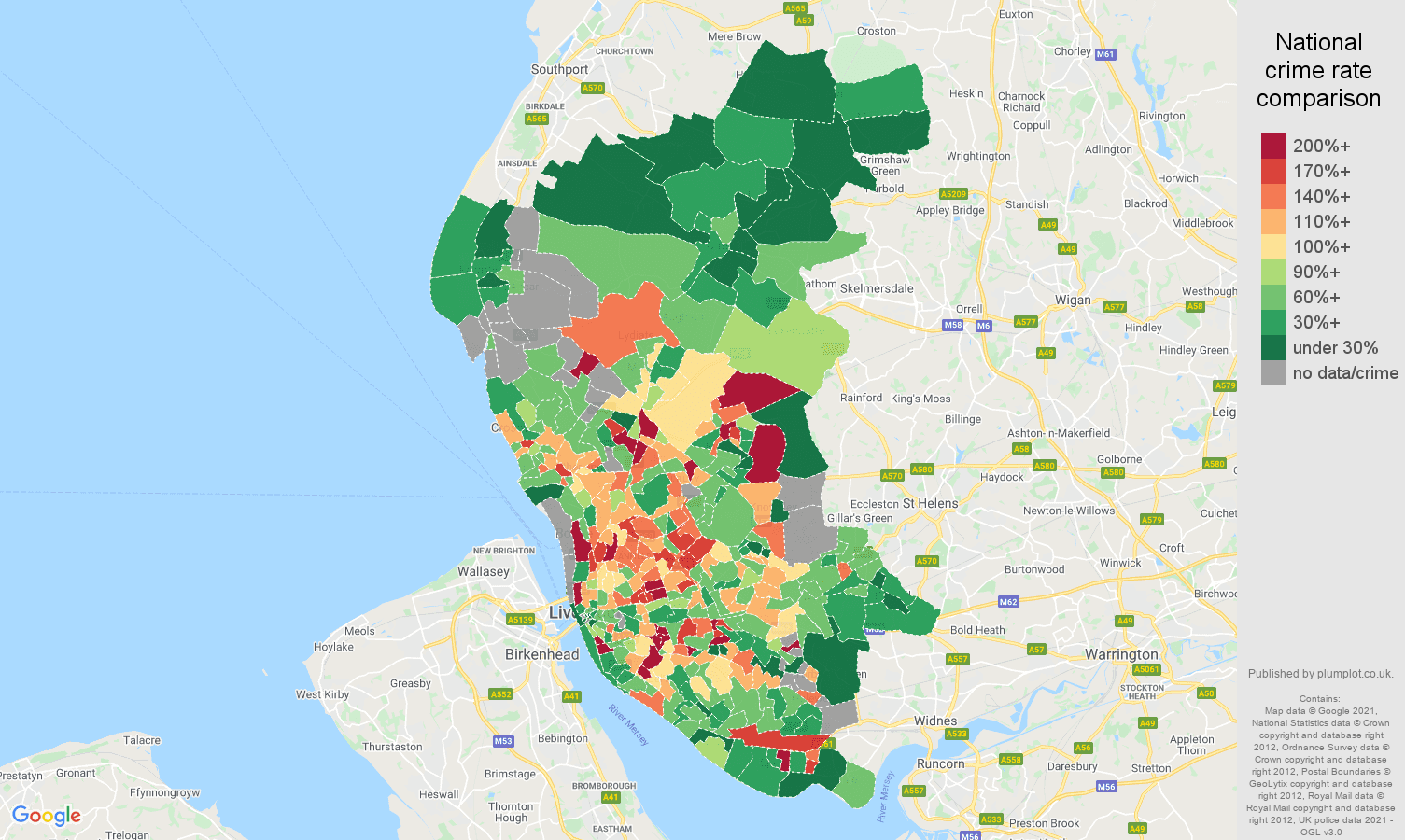 Liverpool vehicle crime rate comparison map