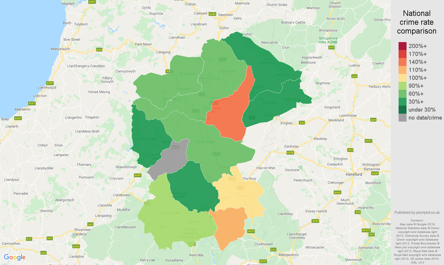 Llandrindod Wells other crime rate comparison map