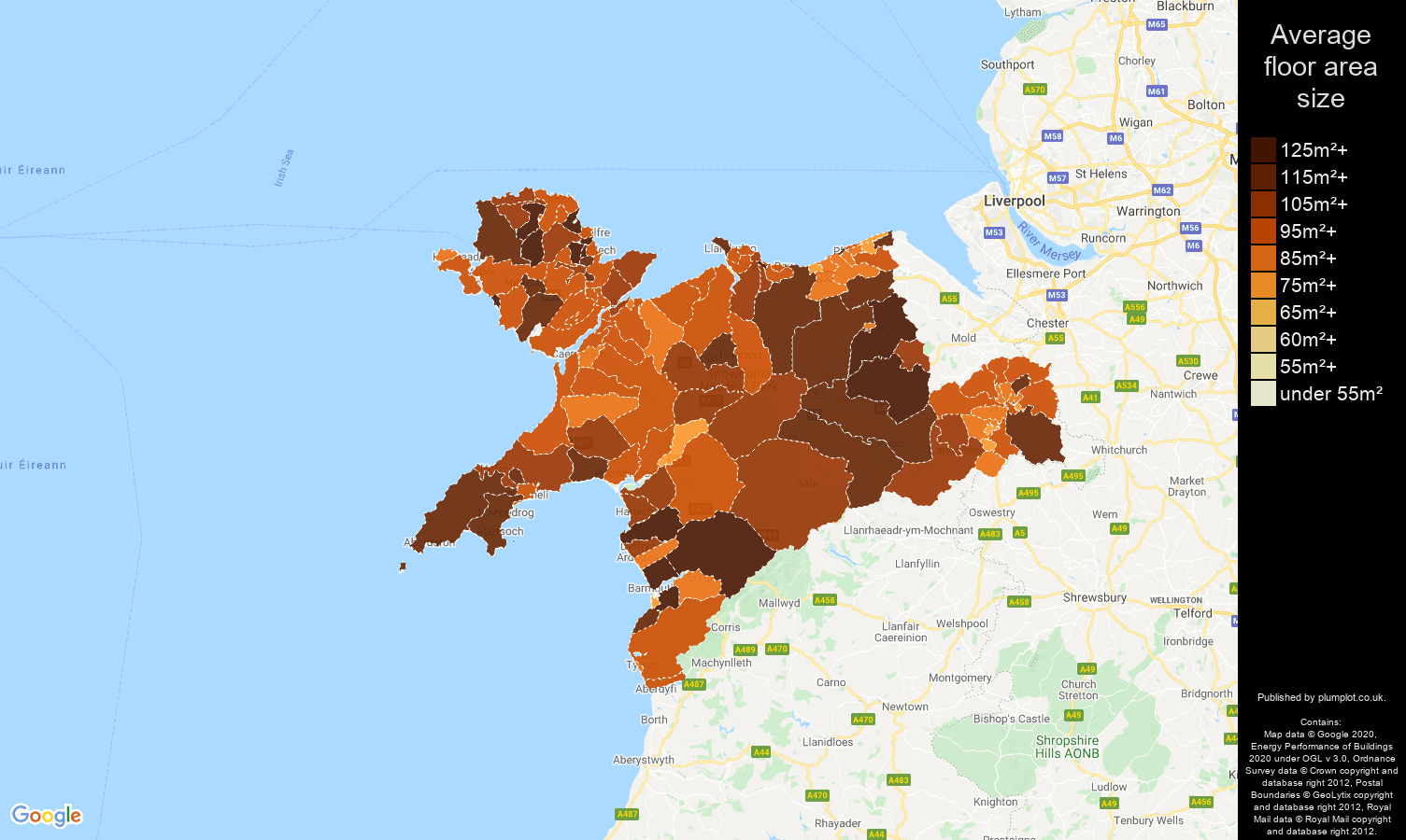 Llandudno map of average floor area size of houses