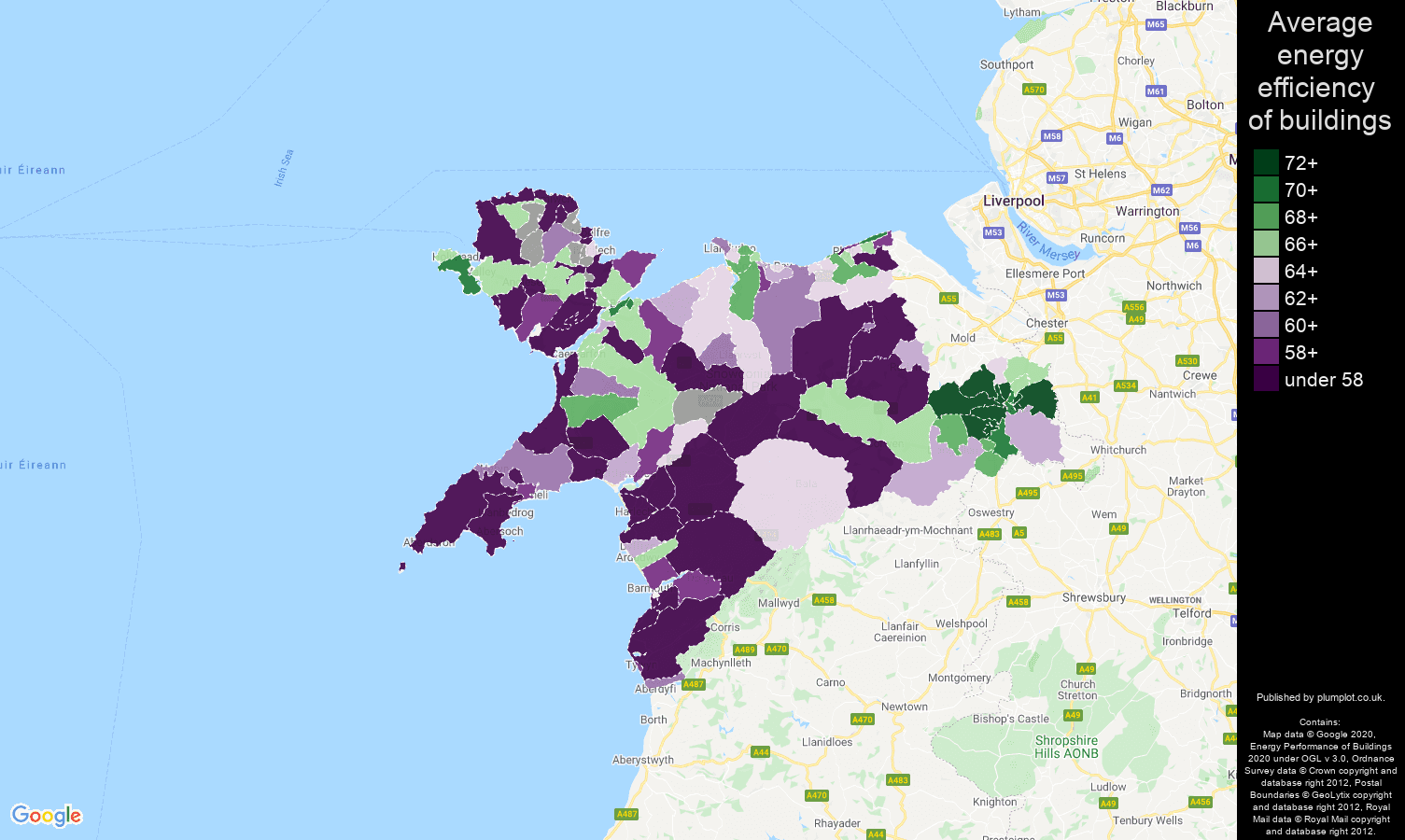 Llandudno map of energy efficiency of flats