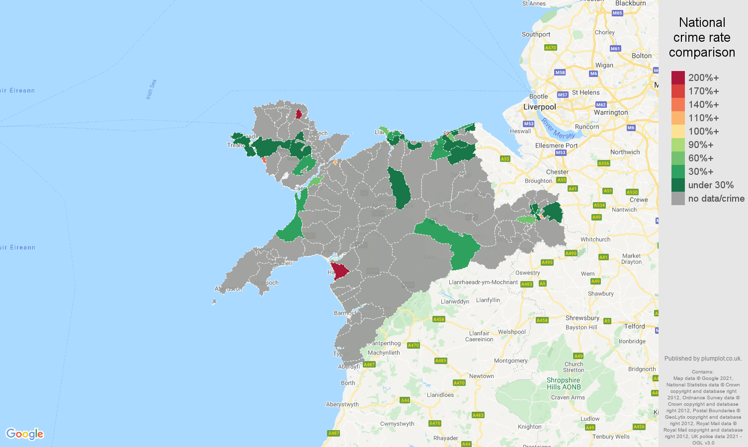 Llandudno theft from the person crime rate comparison map