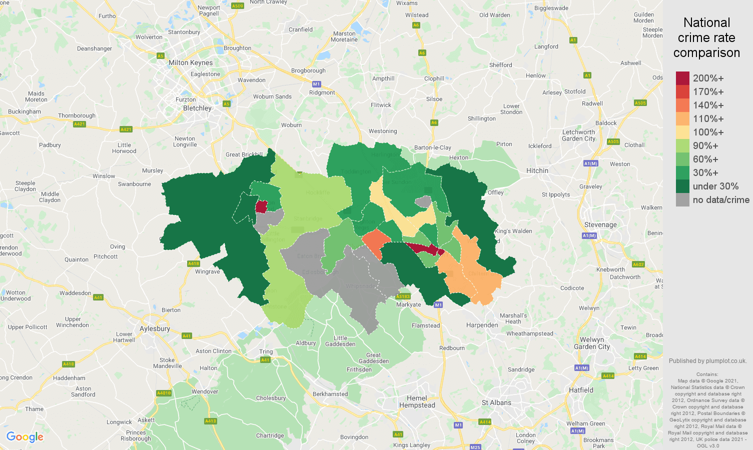 Luton theft from the person crime rate comparison map