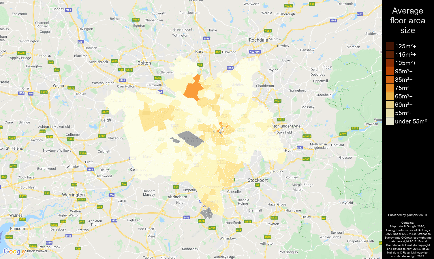 Manchester map of average floor area size of flats