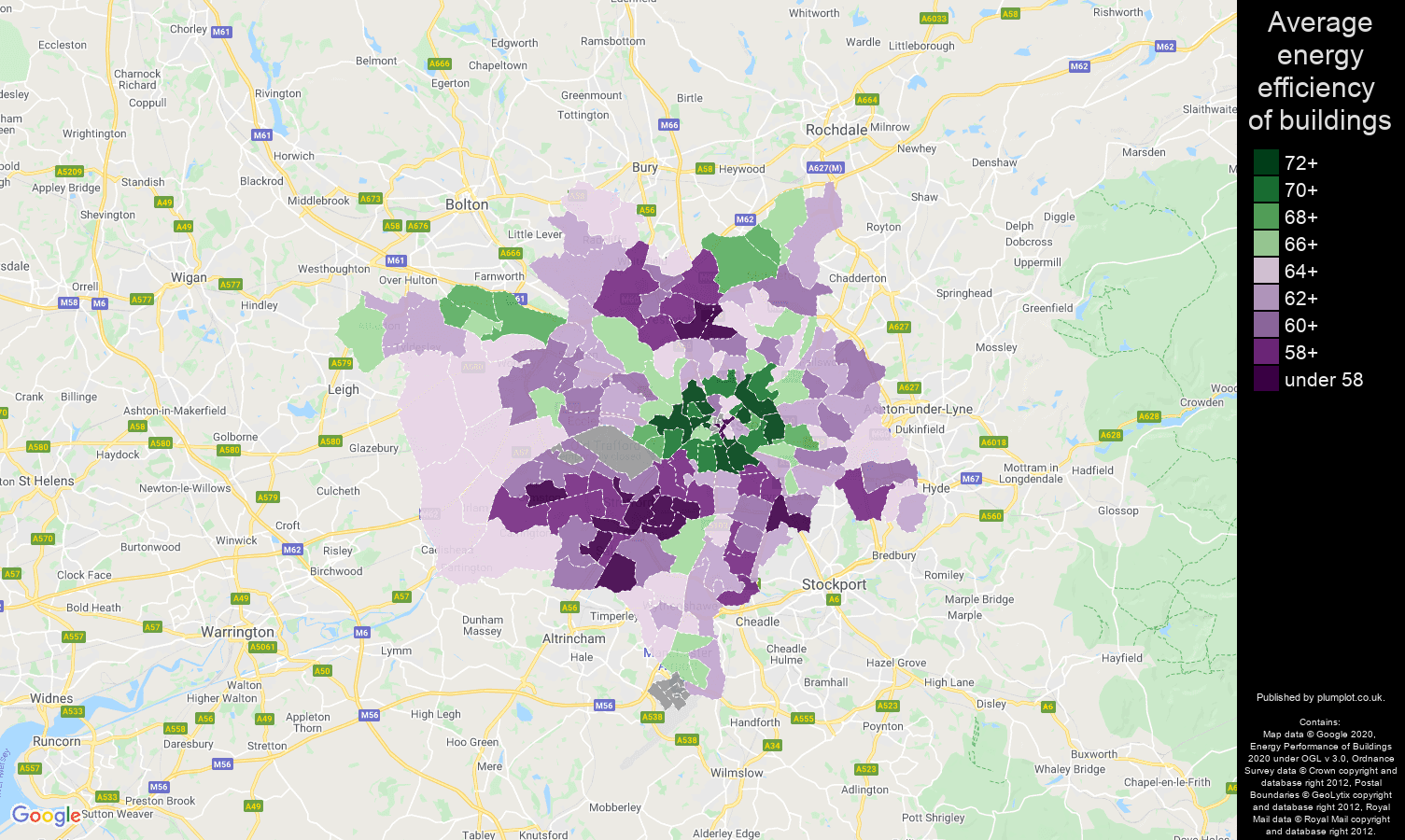 Manchester map of energy efficiency of houses
