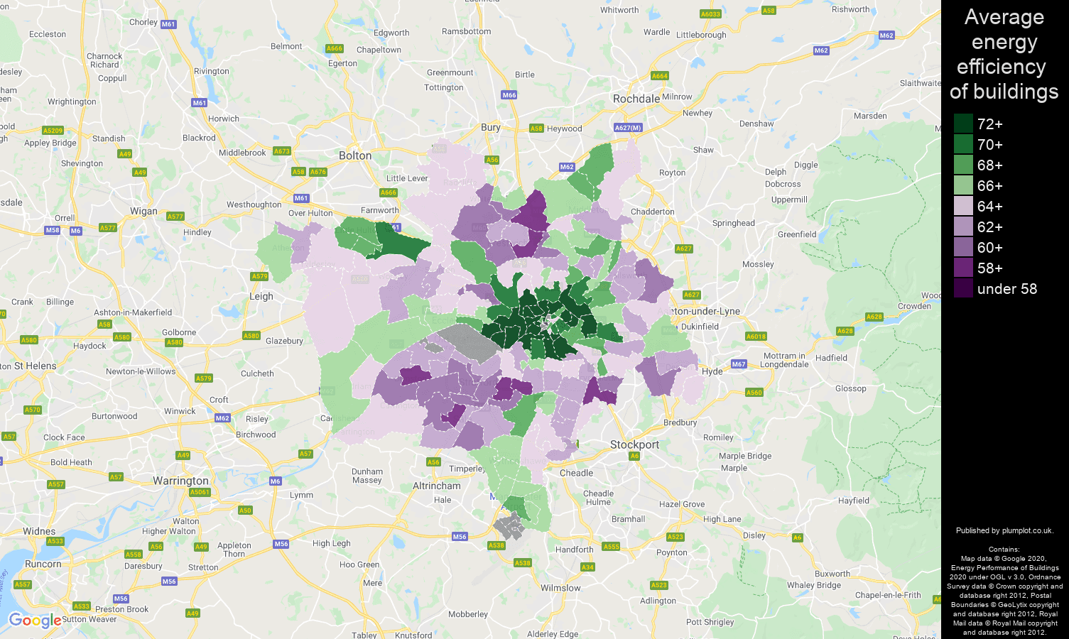 Manchester map of energy efficiency of properties