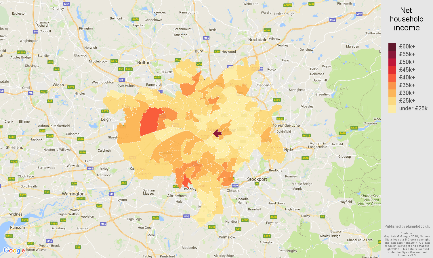 Manchester net household income map