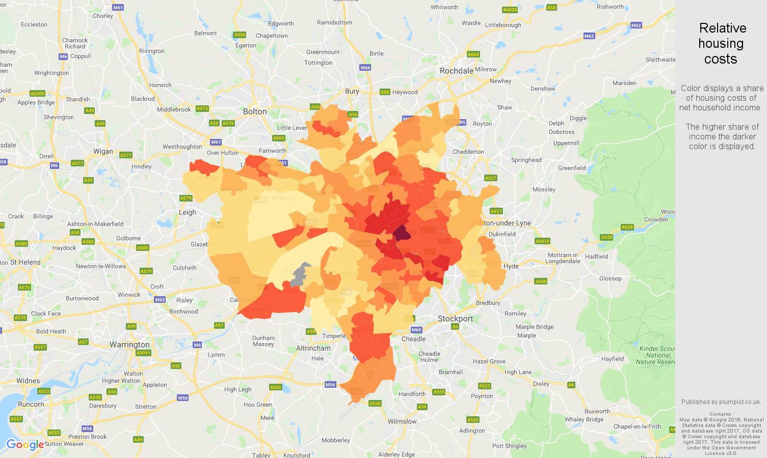 Manchester relative housing costs map